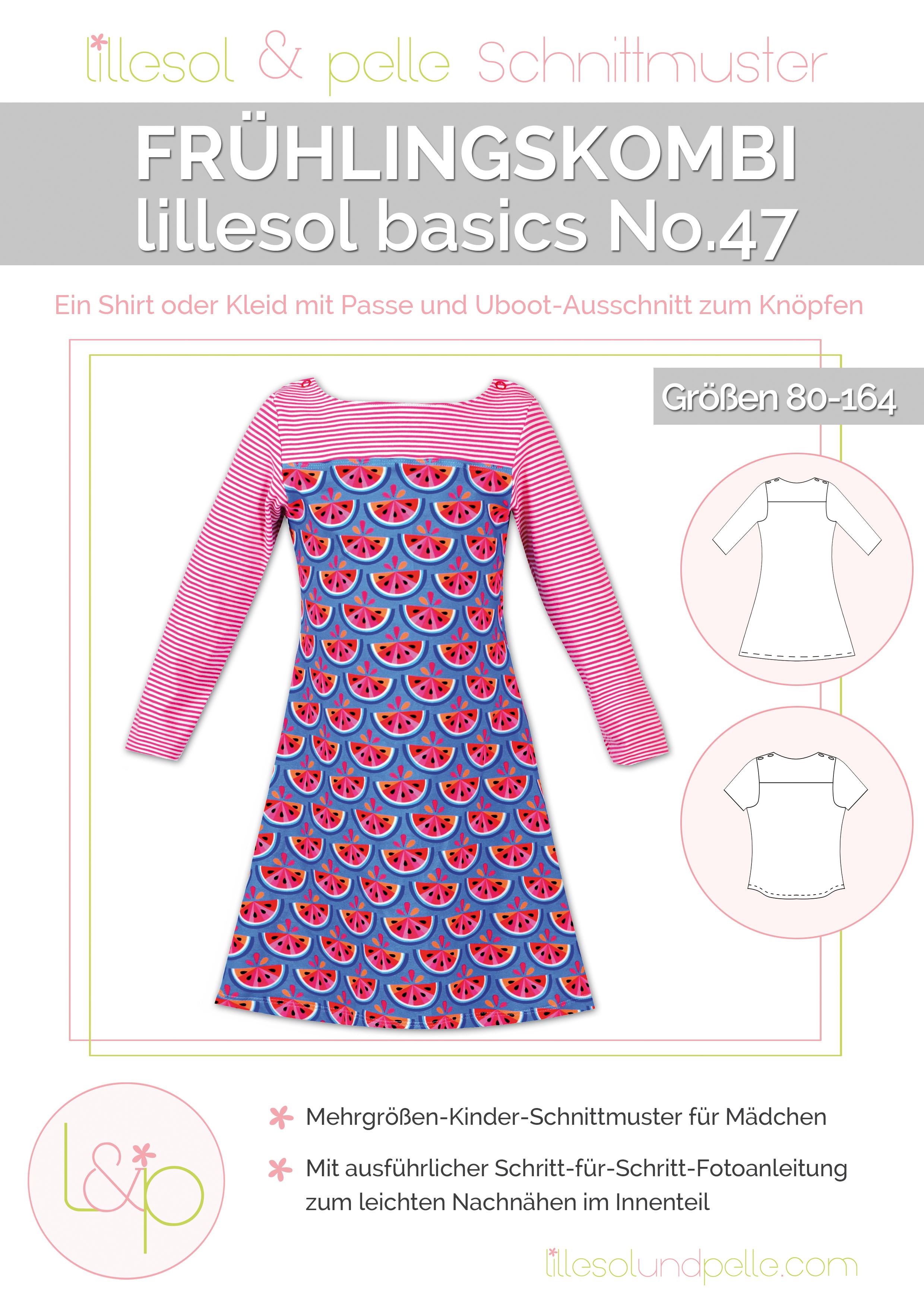 Ebook Schnittmuster nähen Frühlingskombi Kleid und Shirt mit Uboot-Ausschnitt, Passe und Knopfleiste zum Knöpfen