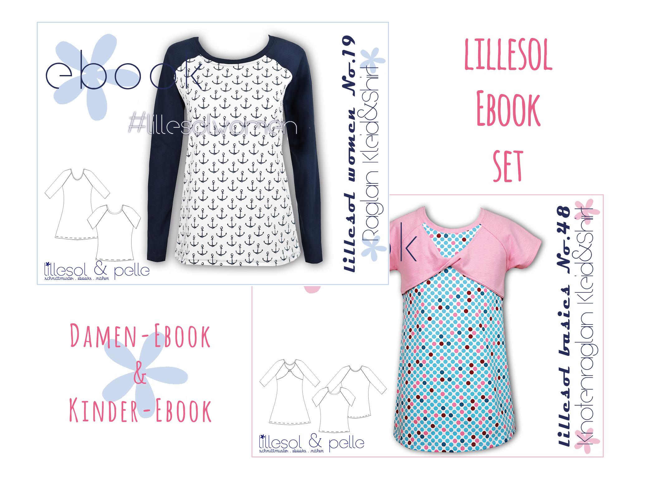 Schnittmuster EBook nähen Raglanshirt Raglankleid, Raglan für Damen und Kinder