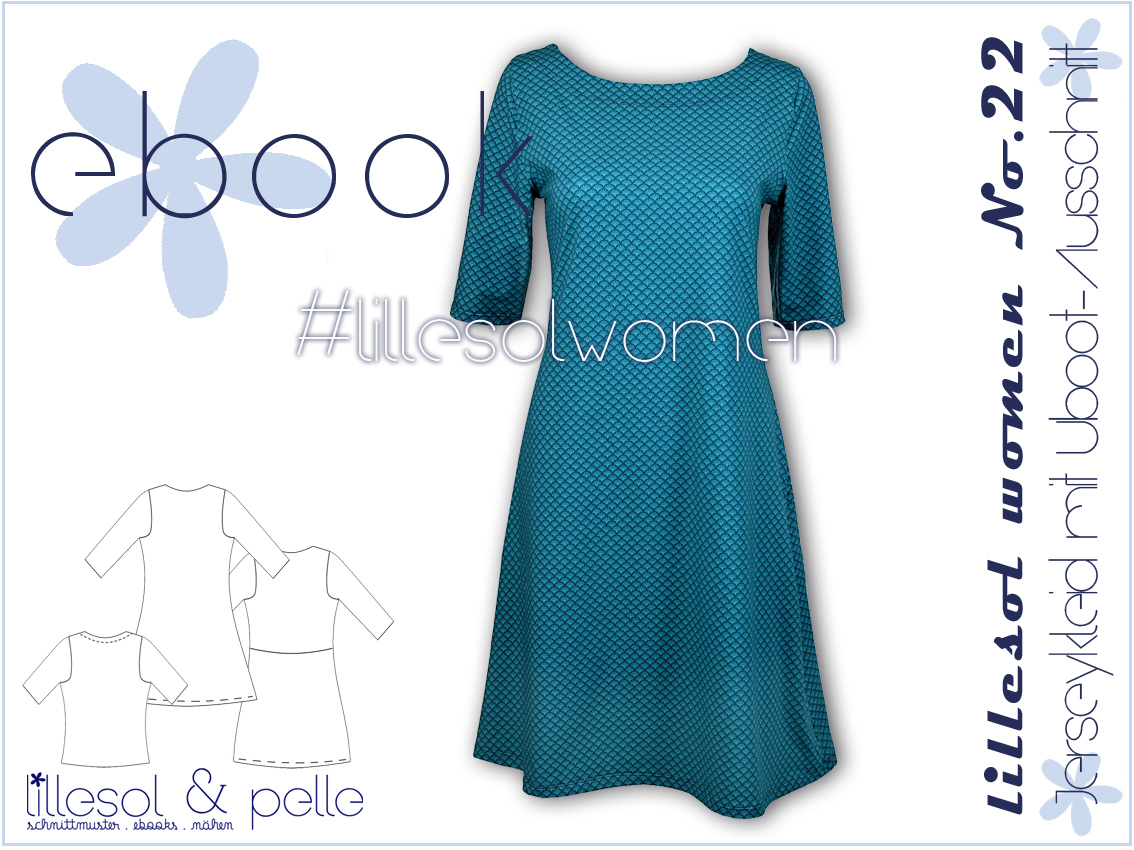 Schnittmuster Ebook nähen Jerseykleid mit Uboot-Ausschnitt für Damen und Kinder