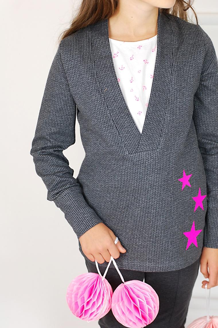 Schnittmuster Ebook Nähen Shirt V-Ausschnitt Pulli Vausschnitt