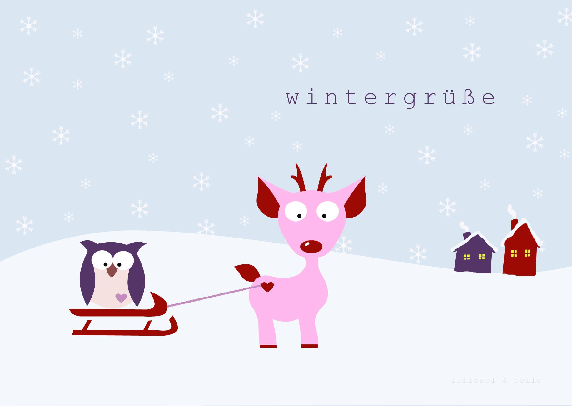 Freebie Printable Ausdrucken kostenlos Postkarte Weihnachten Silvester