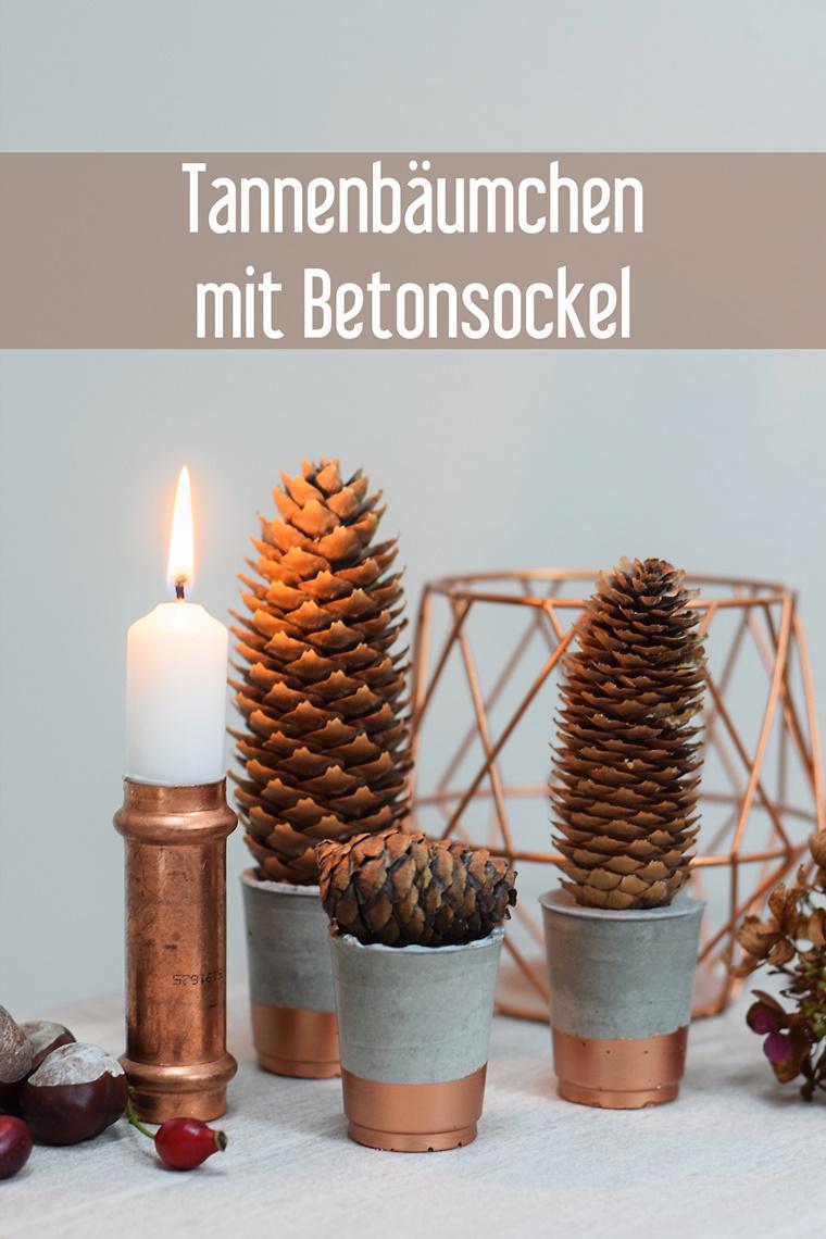 Herbst Winter Weihnachten Deko Tannenzapfen Weihnachtsbäumchen Beton Anleitung DIY